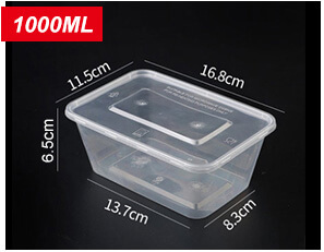 Plastic Disposable Food Containers - Rectangle - 1000ml