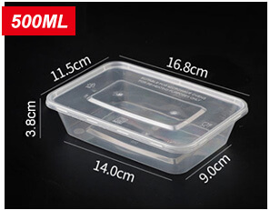 Plastic Disposable Food Containers - Rectangle - 500ml