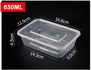 Plastic Disposable Food Containers - Rectangle - 650ml