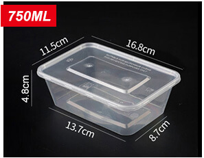 Plastic Disposable Food Containers - Rectangle - 750ml