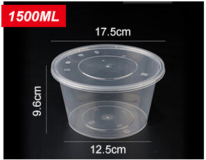 Plastic Disposable Food Containers - Round - 1500ml