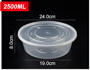 Plastic Disposable Food Containers - Round - 2500ml