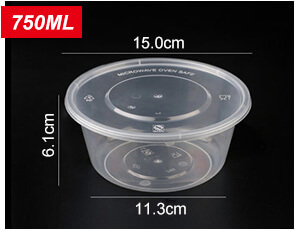 Plastic Disposable Food Containers - Round - 750ml